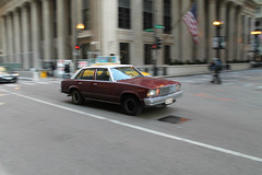 Boogie (Flint Foto Factory) Tags: city morning urban white chicago classic chevrolet sedan illinois am spring gm downtown traffic loop top burgundy flag platform jackson malibu chevy american rush hour era april lasalle intersection friday 1979 icm abody generalmotors malaise intermediate 2016 midsize worldcars intentionalcameramovement
