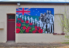 Anzac wall mural (HOLLY HOP) Tags: windows house abandoned architecture army war outdoor decay rustic australia places victoria soldiers weathered walls remembranceday tradition derelict ruraldecay anzac lestweforget rsl anzacday wedderburn hww returnedservicesleague wallwednesdays newwallwednesday