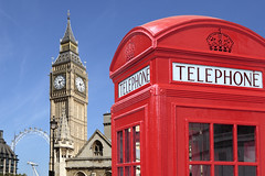Telephone box with Big Ben (noor.khan.alam) Tags: city uk red summer england sky building london tower english clock westminster booth photo big exterior ben box telephone traditional sunny parliament bigben clocktower seoul british typical southkorea telephonebox telephonebooth kor republicofkorea
