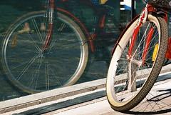 La ruota riflessa (sirio174 (anche su Lomography)) Tags: bicycle wheel cycling bici ruota lungolago bicicletta riflessione