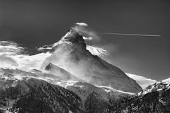 Escaping Plane (hess.photo) Tags: 500px berge blackwhite clouds monochrome mountains natur schwarzweiss wolken
