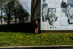 ~16~ (Julien.Rapallini) Tags: street city trees urban france green girl grass rose wall french stand vert dandelion arbres characters rue mur fille immeuble herbe trottoir urbain ain pissenlit debout personnages oyonnax