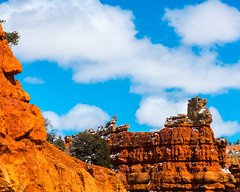Bryce Canyon 3 (MarcCooper_1950) Tags: trees red sky orange snow colors clouds landscape utah nikon scenery rocks vivid canyon cliffs hills southern boulders hoodoo bryce rainfall hdr formations lightroom mounatins brycecanyonnationalpark geologic d810 marccooper