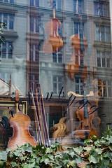 Violins (paul indigo) Tags: travel music reflection art window shop copenhagen streetphotography violin paulindigo