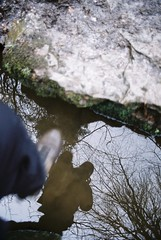 (Fellhunter) Tags: travel england selfportrait blur reflection nature 35mm river photography countryside jump blurry stream olympus analogue om developed englishcountryside 35mmphotography filmphotography travelphotography analoguephotography photographersoftumblr originalphotographers