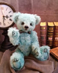 Rorie - Ready for adoption (TinyTwirlySkirts) Tags: bear teddy teal mohair teddybear ooakteddybear tinytwirlyskirts
