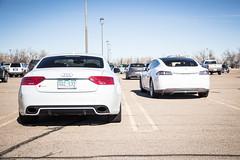 Audi or Tesla? (Hunter J. G. Frim Photography) Tags: white electric sedan model colorado twin s turbo german american grille carbon audi supercar twinturbo v8 tesla rs5 audirs5 teslamodels