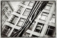 Ross On Ross (O Caritas) Tags: sanfrancisco california blackandwhite bw monochrome ross flag january departmentstore oldnavy oldglory 2016 snapseed samsunggalaxysiii xnretro starsandstrpies 20160109183155 9january2016