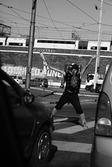 #street (valentinalazza) Tags: world road street b boy bw italy black rome roma art car contrast out real person freedom photo artist italia photographer photos clown bn around confusion bianco ontheroad nero