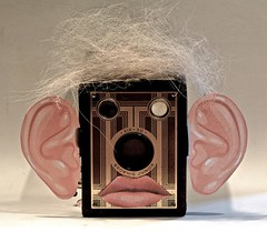 Brownie Junior (ricko) Tags: camera face vintage ears lips cutouts doghair browniejunior werehere