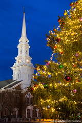 North Church at Christmas, Portsmouth, New Hampshire (DawnaMoorePhotography) Tags: christmas old city travel blue winter usa cold tree tower history clock church pinetree night dark festive photography evening town us photo twilight lowlight unitedstates image dusk decoration picture newengland newhampshire nh historic steeple spire ornaments photograph portsmouth destination bluehour atnight afterdark seacoast marketsquare holidayseason historicdistrict northchurch rockinghamcounty congressstreet congregationalchurch unitedchurchofchrist buildingandstructures dawnamoorephotography dawnamoorephotographycom