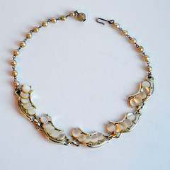 Vintage Mid-Century Modern Choker Necklace - Mother-of-Pearl Discs in Crescent Patterned Links (karalennox) Tags: modern vintage necklace jewelry 1960s etsy choker modernist midcentury motherofpearl