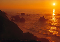 Sunset over the Pacific Ocean (Utah Images - Douglas Pulsipher) Tags: ocean california sunset sea coast rocks waves seascapes cove tide bigsur rocky cliffs pacificocean craggy shore inlet coastline remote lonely seashore isolated rugged coves steep bigsurcoast inlets