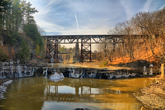 Railroad Bridges over Normanskill (hbickel) Tags: bridge reflection clouds canon dam bridges waterfalls hdr highdynamicrange canont6i