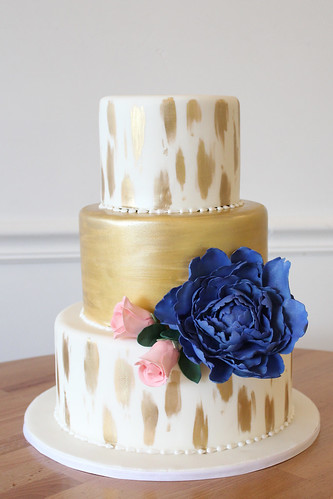 Hand Painted Gold Brushing with Large Sugar Flower