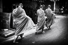 Monks Bangkok (siebe ) Tags: street morning people blackandwhite bw monochrome thailand photography blackwhite walk bangkok streetphotography photojournalism documentary monk monks thai streetphoto soi alms 2016 pratunam       siebebaardafotografie