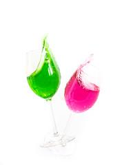 Wine Glass Splash (andythekeys) Tags: red green glass wine crash spray whitebackground splash spill speedlight highspeed