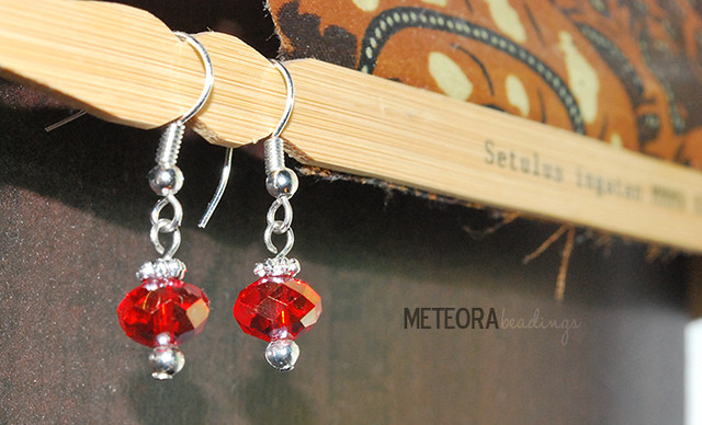 Earrings - red beads with silver bead caps