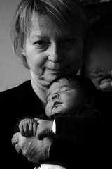 Proud grandma (gornabanja) Tags: family grandma sleeping people blackandwhite baby love blackwhite nikon d70 grandmother small grandchild newborn oma asleep granma enkel