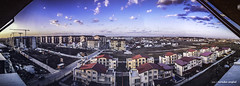 Residential panorama (Romulus Anghel) Tags: city blue light panorama lake water colors clouds buildings landscape photography lights cityscape earth lg romania bucharest bucuresti nori