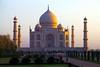 The Taj Mahal catches the sun at sunrise. (Heaven`s Gate (John)) Tags: trees sky people sun sunlight india white building architecture sunrise outdoors dawn peace taj tajmahal agra icon tourists worldheritagesite mausoleum marble visitors iconic tranquil 1632 johndalkin heavensgatejohn iconicarchitecture minatets