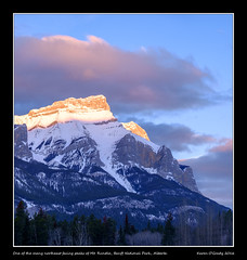 One of the many northeast facing peaks of Mt. Rundle, Banff National Park, Alberta (kgogrady) Tags: trees mountain canada clouds sunrise landscape spring noone ab nopeople alberta banff fujifilm peaks fujinon mountrundle banffnationalpark parkscanada mtrundle canadianrockies 2016 westerncanada canadianmountains xe1 canadiannationalparks canadianlandscapes albertalandscapes fujifilmxe1 xf55200mmf3548ois picturesofalberta photosofalberta photosofbanffnationalpark picturesofbanffnationalpark canadianrockieslanscape picturesofmtrundle photosofmtrundle northeastfacing
