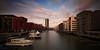 Frankfurt Westhafen II (jeglikerikkefisk) Tags: city sunset building sonnenuntergang hessen frankfurt main filter stadt nd ufer fluss westhafen frankfurtammain neubau hochhaus hesse ffm langzeitbelichtung frankfurtam geripptes