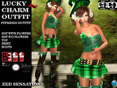 lucky charm outfit (Zed Sensations) Tags: eve irish holiday cute sexy saint st project outfit clothing day slim mesh boots top patrick skirt event lara fantasy casual patricks sensations isis freya belleza zed physique hourglass roleplay fitted maitreya slink pulpy fitmesh evemesh