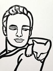 Marlon and the Cat (magda wolna) Tags: cutpaper brando marlon marlonbrando handprinted printingink