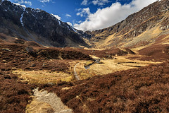 Corrie Fee (Noel Wyn Davies) Tags: park uk blue mountains nature landscape scotland spring doll angus path heather reserve wideangle glen national corrie fee cairngorms glens clova glaciated