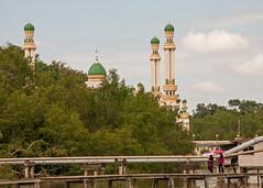 Kampong Ayer wooden walkway and Al-Muhtadee Billah Mosque