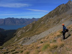 Looking back to consider the return (flashmick) Tags: autumn mountains scree wakatipu crichton