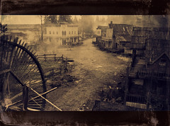 Ghost town (V and the Bats) Tags: sepia architecture scary ominous gothic haunted creepy western ghosttown aged neoretro hauntedtown westernghosttown frontierarchitectujre westernarchiecture postteated