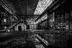 Il pleut dans l'atelier (vedebe) Tags: street city bw monochrome architecture eau noiretblanc nb rue reflexion reflets ville usine urbain escaliers abandonn netb usinedsaffecte