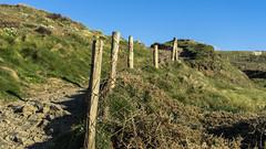 clifftop fence (HHH Honey) Tags: cliff moon fence landscape devon signpost fenceposts clifftop telegraphpoles hartlandpoint sonya7rii sony2870mmlens minimoonxi