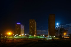 Mars, Saturn, the Full Moon & the Linkwood Flats (john&mairi) Tags: mars moon tower scotland nocturnal glasgow demolition full flats highrise blocks saturn highrises linkwood drumchapel glasgownight