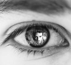 Oblivious (Bruno Doinel) Tags: blackandwhite macro eye daylight natural doubleexposure tamronsp90mmf25macro