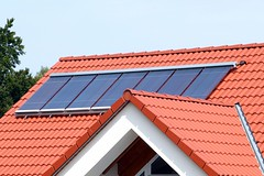 Red tile roof solar thermal (C) Rayotec