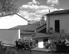 Sesto Fiorentino (Mattia Camellini) Tags: monochrome clouds mediumformat landscape italia nuvole tetti roofs vintagecamera toscana paesaggio biancoenero foldingcamera sestofiorentino ilforddelta400professional 45x6cm mattiacamellini carlzeissoptontessar3575mm ikonikonta521a