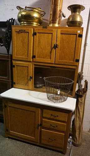 Oak Kitchen Cabinet w/ Glass Canisters ($467.50)