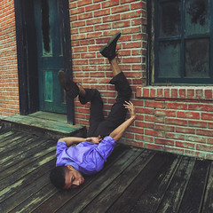 When I hit reality (Carlos Castaeda') Tags: door wood selfportrait brick window wall photoshop purple floor clothes explore reality desires edit expectations expansion fineartphotography conceptualphotography