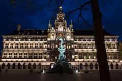 Anwerp city hall: Blue hour madness (cornelis1980) Tags: city blue building beautiful night canon dark photography eos lights hall long exposure d madness hour after antwerp markt 70 antwerpen grote