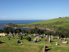 A view to die for - Gerringong Cemetery, NSW (roslyn.russell) Tags: cemetery coast nsw anchor pinetrees headland gerringong