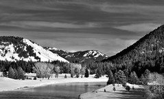 Surrounding Hillsides and Trees to the Snake River (Black & White) (thor_mark ) Tags: trees day2 mountains nature river blackwhite unitedstates evergreen snakeriver alta wyoming snowylandscape grandtetonnationalpark lookingeast hillsides project365 colorefexpro cloudwisps mountainsindistance blueskieswithclouds yellowstoneplateau tetonparkrd lozierhill nikond800e mountainsoffindistance capturenx2edited hillsideoftrees triptoidahoandgrandtetons greateryellowstonerockies tetonrangeyellowstonearea ondamofjacksonlake southernyellowstoneplateau
