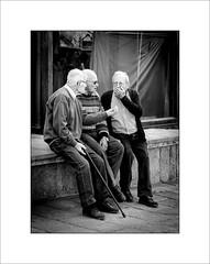 Conversation (tkimages2011) Tags: people man men monochrome canon mono spain chat talk catalonia catalunya discussion catalan torroella 24105l 5d2