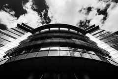 Office Refelctions 6 (Philip Gillespie) Tags: uk windows sky sun building glass up architecture clouds canon photography scotland office edinburgh cityscape angle steel curves wide april refelction 2016 sequent
