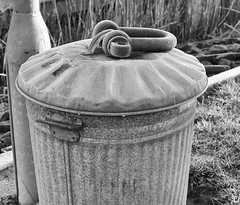 Keeping the lid on (3pebbles) Tags: monochrome blackwhite bin weight lid dustbin shackle