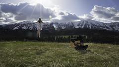 The Songwriter (jrountree333) Tags: boy portrait sky white mountains nature girl nikon montana bozeman dress guitar album vinyl floating jacket sing levitate tieddown
