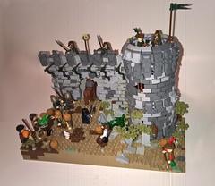 Rebuilding the Farrion Stronghold (wilfordandmalia) Tags: party horse bird castle festival stone wall lego medieval goblin custom moc