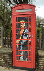 David Bowie - Ziggy Stardust Homage in a vintage telephone box (Cozy61) Tags: red david rock vintage found bowie box album telephone vinyl glam homage southend ziggy stardust